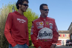 Valentino Rossi visits nearby Fiorano track: Valentino Rossi and Michael Schumacher