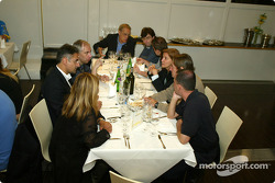 Renault F1 team dinner with Jarno Trulli's dad Enzo