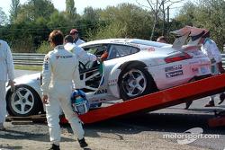 Accident for #77 Choroq Racing Team Porsche 911 GT3 RSR: Haruki Kurosawa, Kazuyuki Nishizawa, Manabu Orido