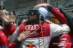 Mattias Ekström celebrates second place finish