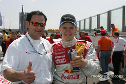 Hans-Jürgen Abt and Mattias Ekström celebrate pole position