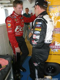 Dale Earnhardt Jr. discusses with Matt Kenseth