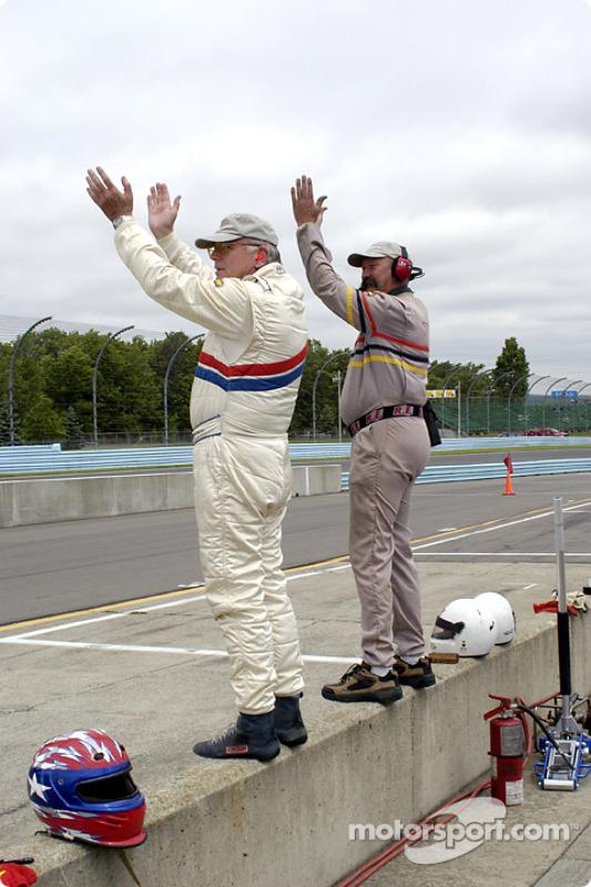 John Schneider and crew celebrate the win