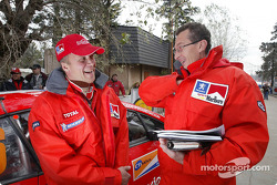 Risto Pietilainen and Marlboro Peugeot Total team manager Nicola Gullino