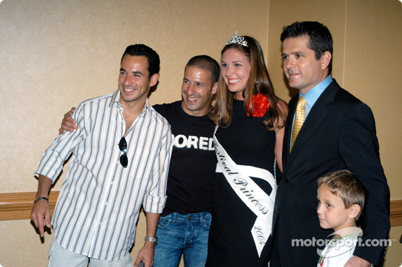 Helio Castroneves, Tony Kanaan, 500 Festival Princess Lauren Petticrew, Gil and Luke De Ferran