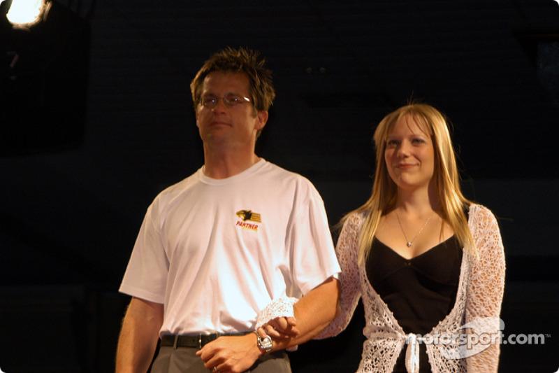 Panther Racing general manager Doug Boles and Vanessa Morgan (Mark Taylor's fiancee)
