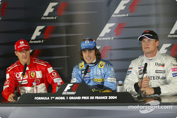 Press conference: pole winner Fernando Alonso with Michael Schumacher and David Coulthard
