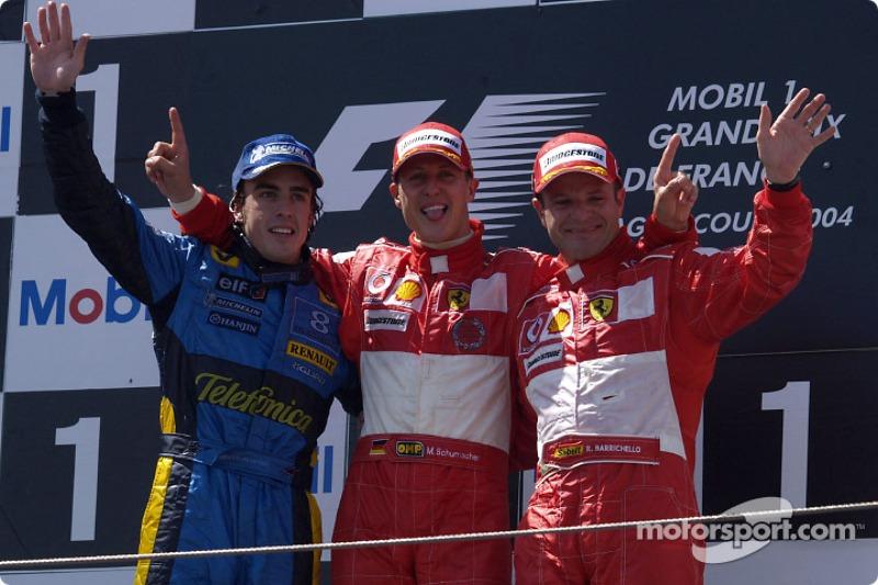 2004: 1. Михаэль Шумахер, 2. Фернандо Алонсо, 3. Рубенс Баррикелло