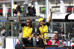 Drivers parade: Nick Heidfeld and Giorgio Pantano