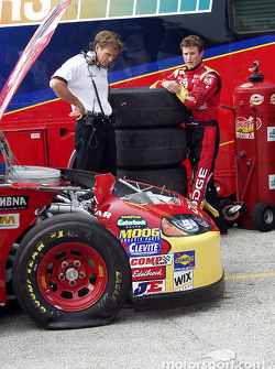 Ray Evernham reviews damage to primary car