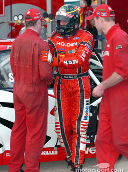 Mark Skaife thanks his crew after grabbing second spot for Sunday's race