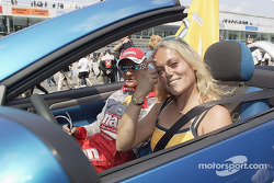 Drivers parade: Timo Scheider and Katja Poensgen