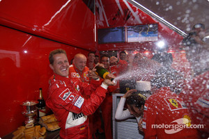 Champagne celebrations for Michael Schumacher