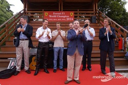Jean Todt on stage, with Ross Brawn, Michael Schumacher, Luca Badoer, Rubens Barrichello, Paolo Martinelli and Luca di Montezemelo