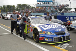 Jimmie Johnson's car to the grid