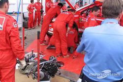 Gearbox change on Harri Rovanpera's Peugeot