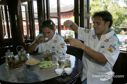 Giancarlo Fisichella and Felipe Massa visit Yu Gardens