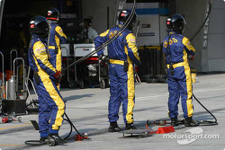 BAR-Honda team members get ready for the next pitstop