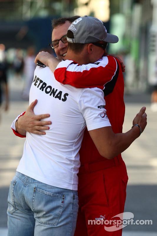Michael Schumacher, Mercedes GP en Stefano Domenicali Ferrari General Director