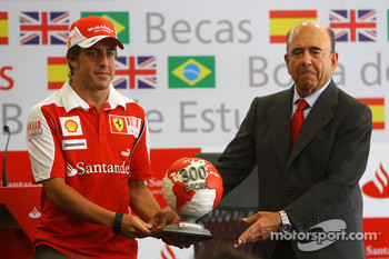 Emilio Botin, chairman of Banco Santander and Fernando Alonso, Scuderia Ferrari