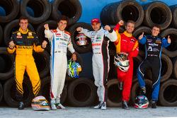 2010 GP2 Series race winners Jerome D'Ambrosio, Sergio Perez, Pastor Maldonado, Dani Clos and Fabio Leimer