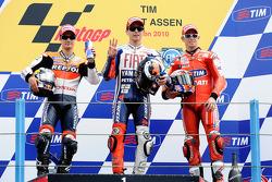 Podium: Rennsieger Jorge Lorenzo, Fiat Yamaha Team, 2. Dani Pedrosa, Repsol Honda Team, 3. Casey Stoner, Ducati Marlboro Team
