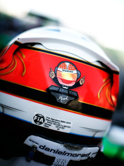 Detail on the helmet of Daniel Morad