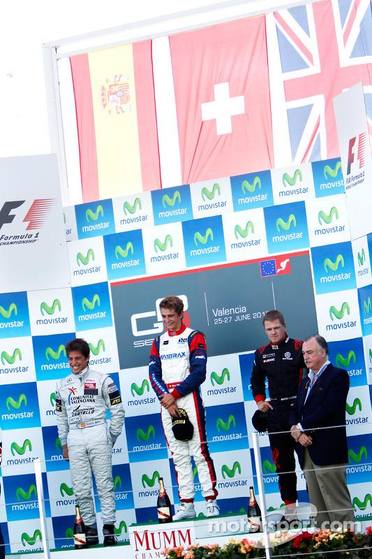 Nico Muller viert op het podium met Roberto Merhi en James Jakes