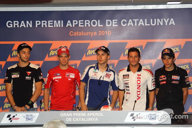 Persconferentie: polepositie Jorge Lorenzo, Fiat Yamaha Team, 2de Casey Stoner, Ducati Marlboro Team, 3de Randy De Puniet, LCR Honda MotoGP