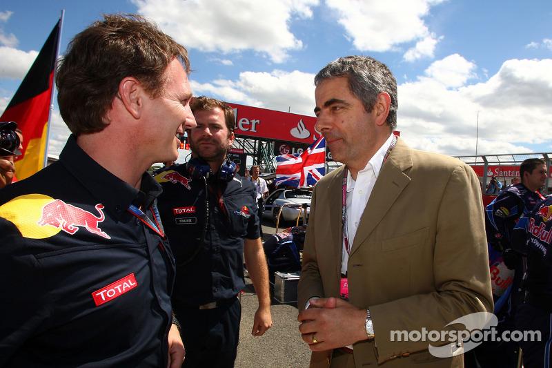 Christian Horner, Red Bull Racing, Sporting Director met Rowan Atkinson aka Mr Bean