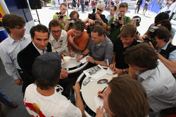 Sebastian Vettel, Red Bull Racing, meets the media
