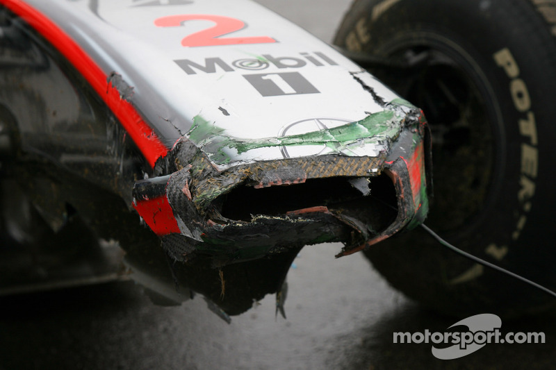 Damaged nose cone after Lewis Hamilton, McLaren Mercedes crashed during the session