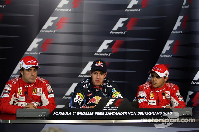 Press conference: pole winner Sebastian Vettel, Red Bull Racing, second place Fernando Alonso, third place Felipe Massa, Scuderia Ferrari