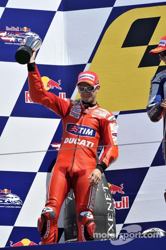 Podium: seconde place pour Casey Stoner, Ducati Marlboro Team