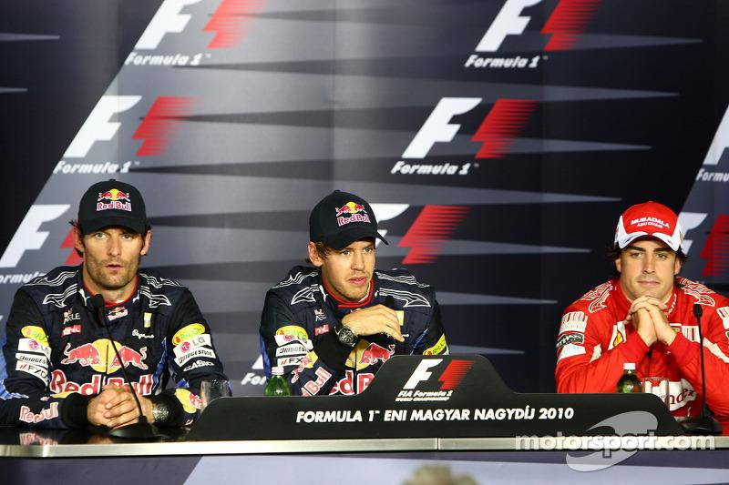 Persconferentie: polezitter Sebastian Vettel, Red Bull Racing, 2de Mark Webber, Red Bull Racing, 3de