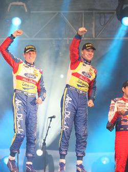 Podium: rally winners Jari-Matti Latvala and Miikka Anttila