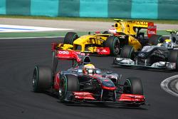 Lewis Hamilton, McLaren Mercedes leads Nico Rosberg, Mercedes GP