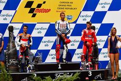 Podium: Sieger Jorge Lorenzo, Fiat Yamaha Team; 2. Dani Pedrosa, Repsol Honda Team; 3. Casey Stoner, Ducati Marlboro Team