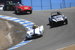 Jim Brown, 1955 Cooper 39 Bobtail, chased by Lou Pavesi, 1954 Huffaker Special