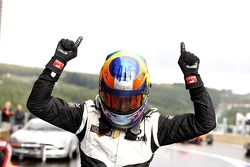 Race winner Robert Wickens celebrates