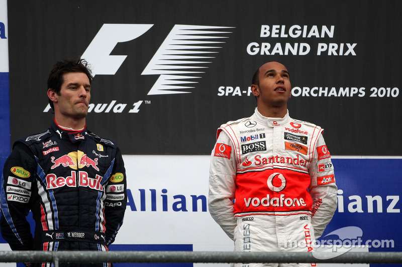 Podium: race winnaar Lewis Hamilton, 2de Mark Webber