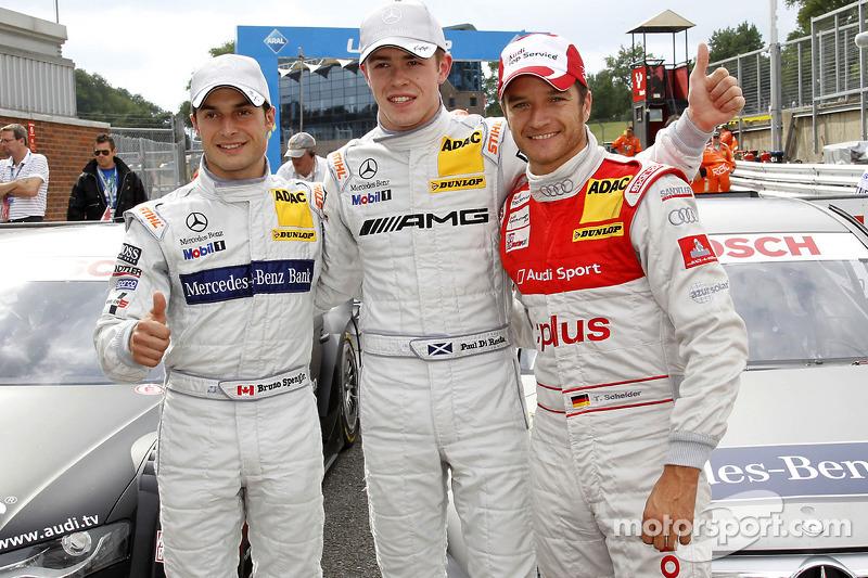 Polepositie Paul di Resta, Team HWA AMG Mercedes, 2de Bruno Spengler, Team HWA AMG Mercedes, 3de Tim