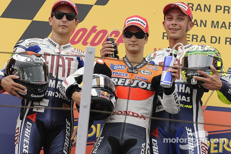 2010: 1. Dani Pedrosa, 2. Jorge Lorenzo, 3. Valentino Rossi