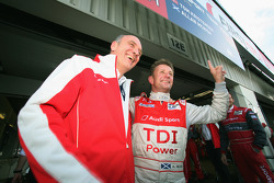 Pole winner Allan McNish celebrates with Dr. Wolfgang Ullrich