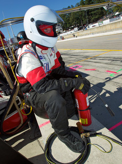 Robertson Racing team member ready for a pit stop