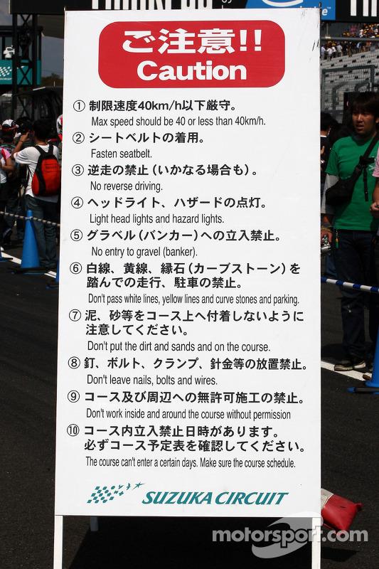 Borden in het Japans en het Engels