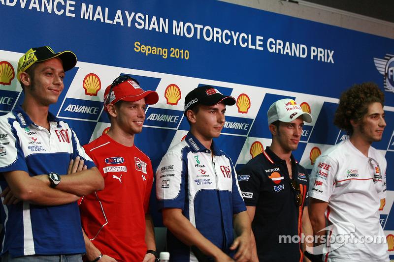 Valentino Rossi, Casey Stoner, Jorge Lorenzo, Andrea Dovizioso, Marco Simoncelli