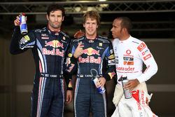 Pole winner Sebastian Vettel, Red Bull Racing, second place Mark Webber, Red Bull Racing, third place Lewis Hamilton, McLaren Mercedes