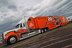 The Home Depot hauler pulls into the track