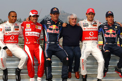 Lewis Hamilton, McLaren Mercedes, Fernando Alonso, Scuderia Ferrari, Mark Webber, Red Bull Racing, Bernie Ecclestone, Jenson Button, McLaren Mercedes and Sebastian Vettel, Red Bull Racing